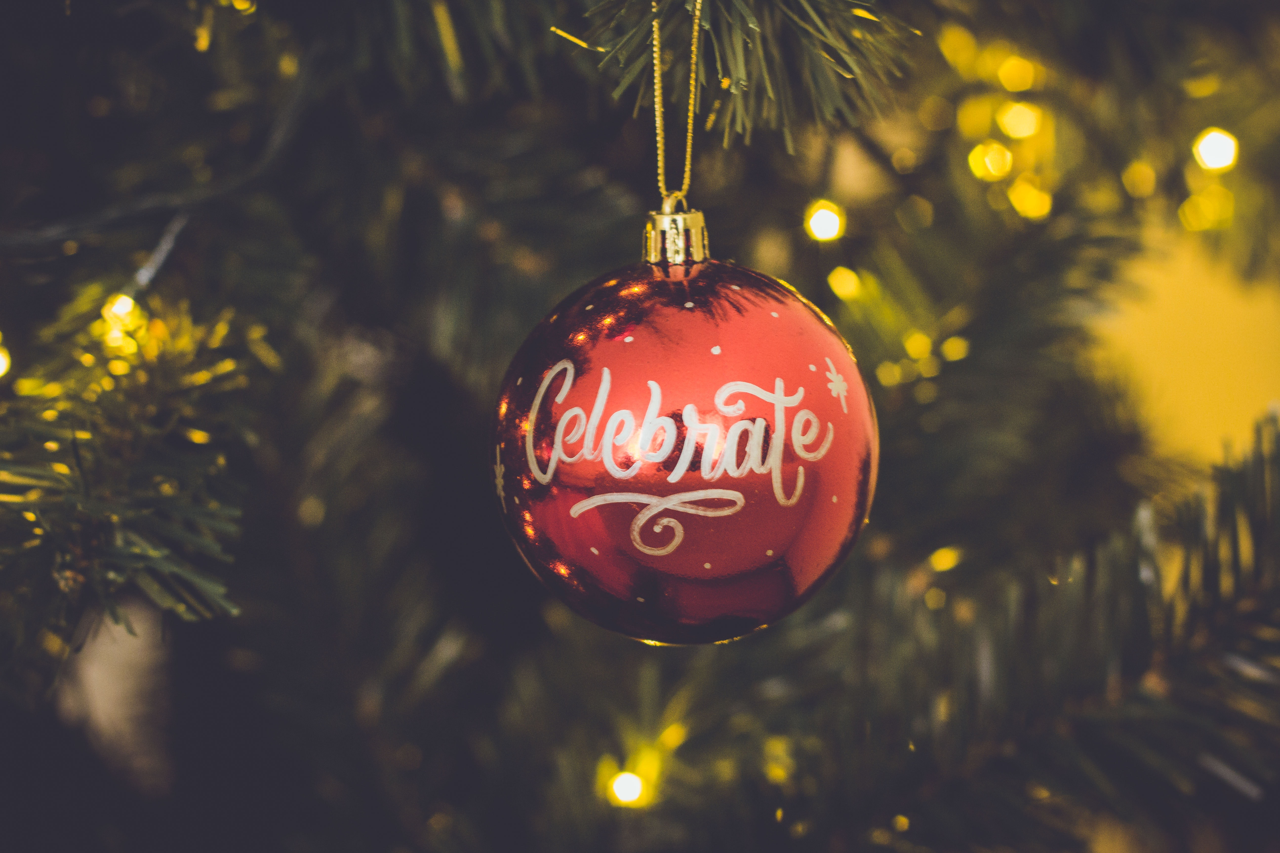 red-celebrate-print-baubles-hang-on-green-christmas-tree-714899